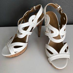 Nine West - White heeled sandals. Cork heels. 9.5